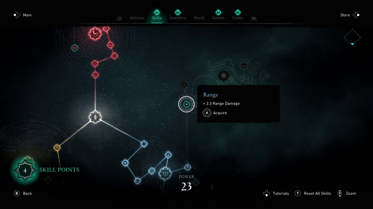 A screenshot of part of the skills levelling screen in Assassin's Creed Valhalla.