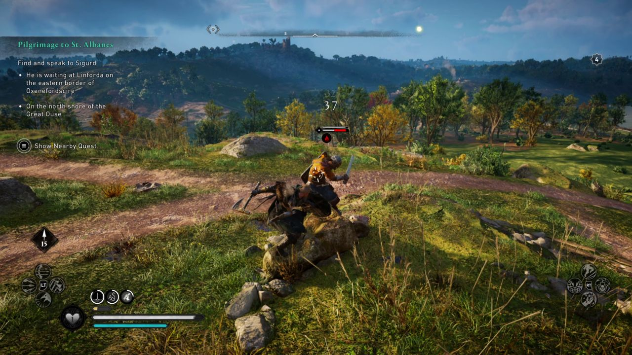 A screenshot of Eivor attacking an enemy soldier on a sunny, grassy hilltop. Nice day for a stabbing.