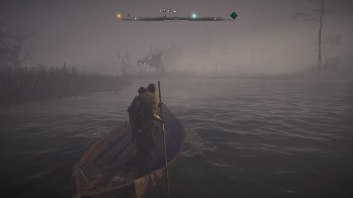 Eivor rowing a small boat in Assassin's Creed Valhalla