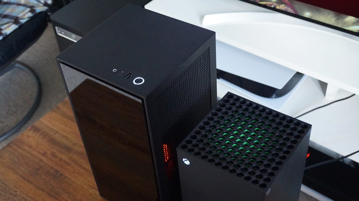 A photo showing the top and sides of our Xbox PC build and the Xbox Series X.