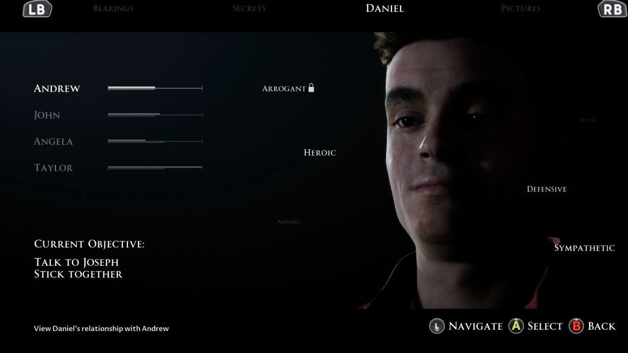 A screenshot of Daniel's relationship summary screen. He, a young white man who looks a bit smug, is on the right hand side, surrounded by words like ARROGANT and HEROIC to denote his personality; on the left is a summary of how other characters feel about him (Taylor likes him and Angela does not).