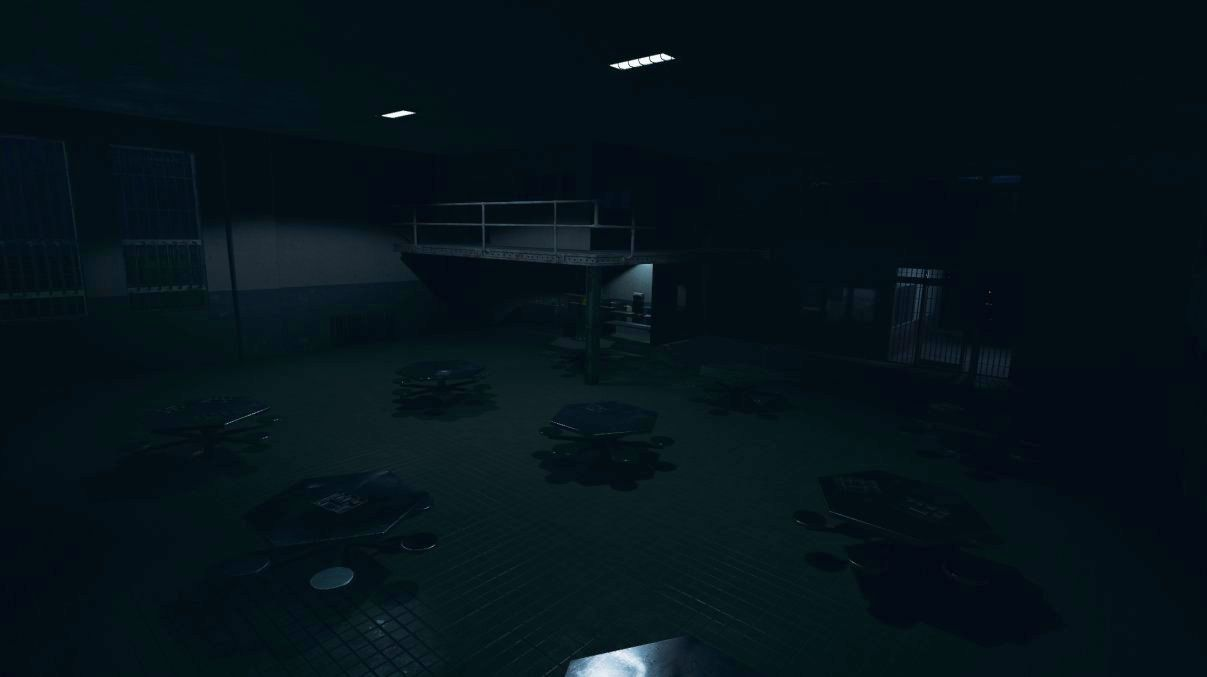 A very dark Phasmophobia screenshot showing an empty prison mess hall with hexagonal tables