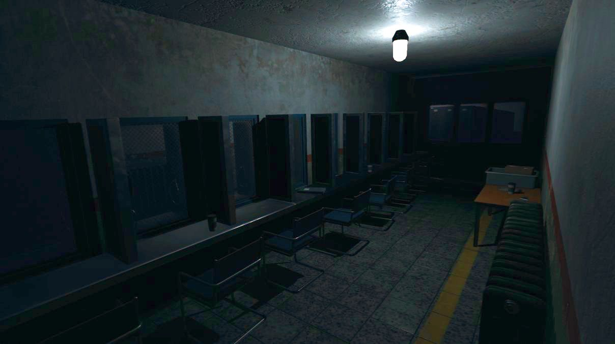 Phasmophobia screenshot showing an empty prison visiting room