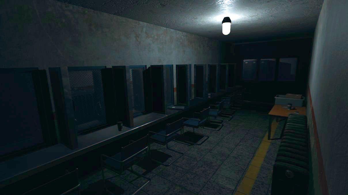 Tangkapan layar phasmophobia menunjukkan ruang tamu penjara yang kosong