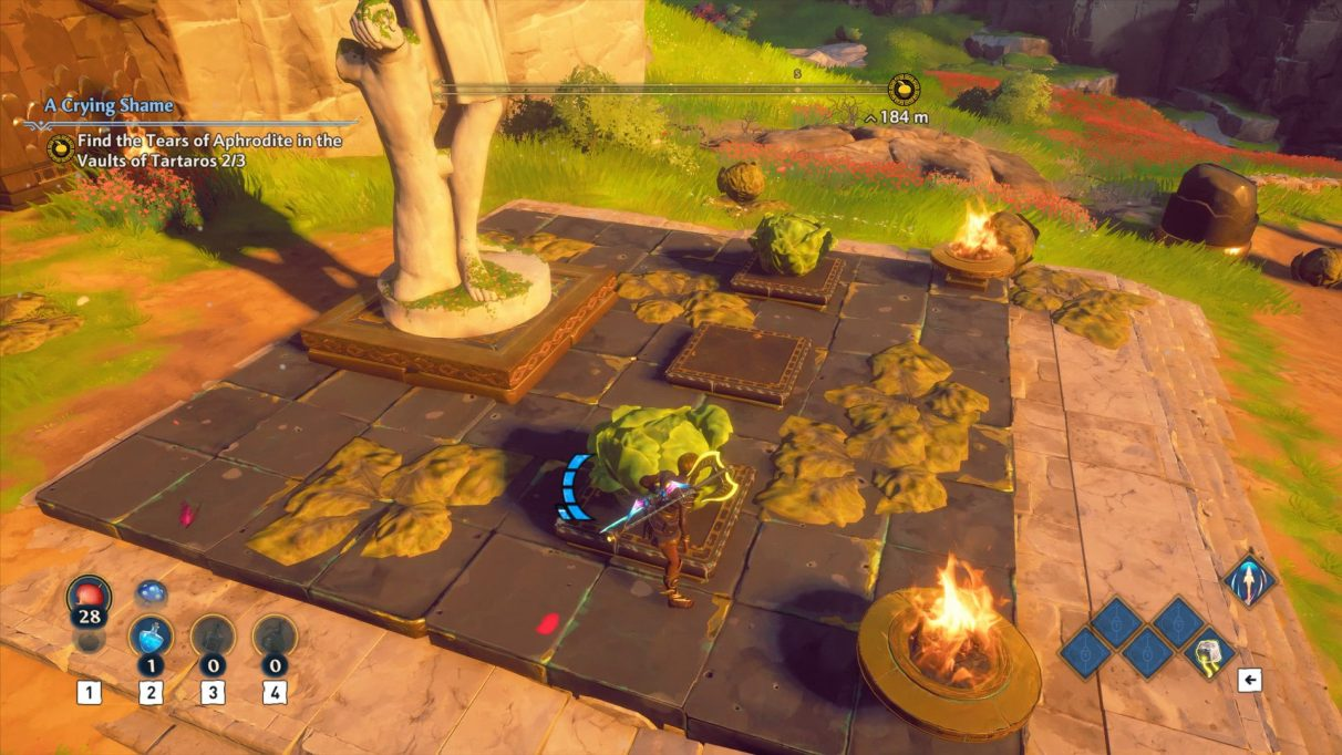 A screenshot of the first cabbage puzzle in Immortals Fenyx Rising.