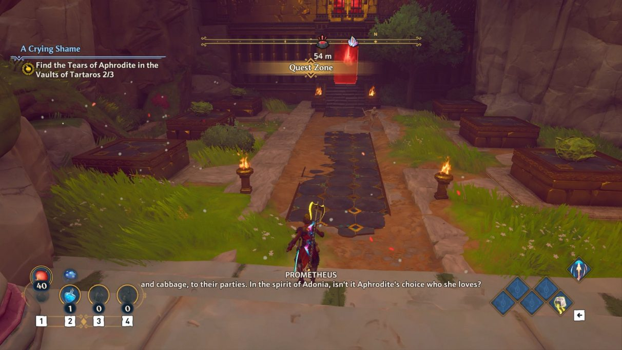 A screenshot of the second cabbage puzzle in Immortals Fenyx Rising.