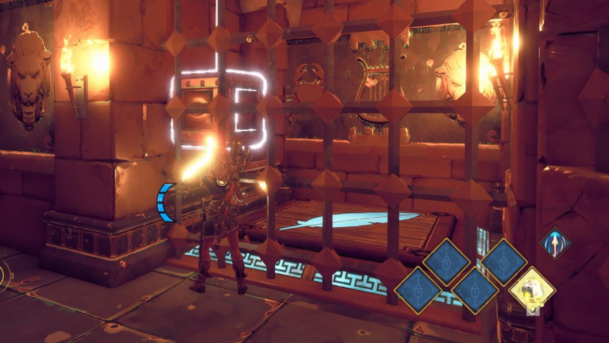 A screenshot of Fenyx lifting the puzzle cube down onto the pressure plate.