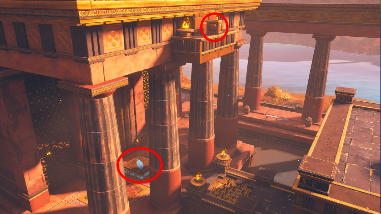 A screenshot highlighting the pressure plate next to the Midas Temple, and the cube to be placed on it.