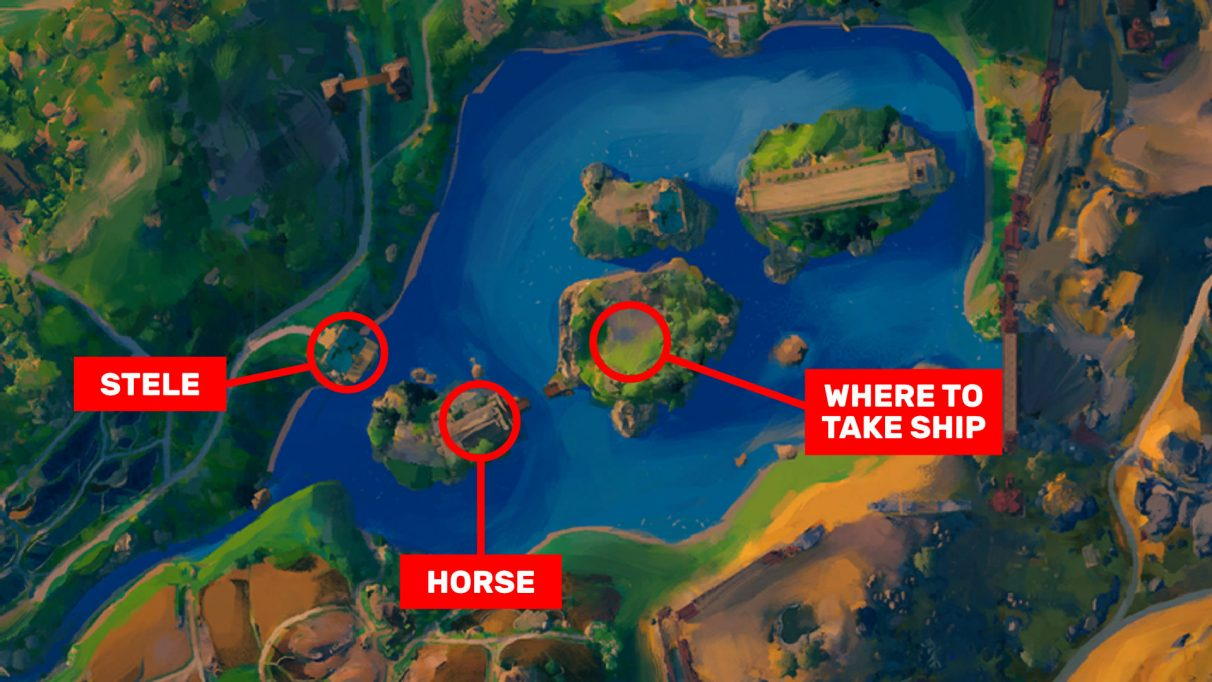 A screenshot highlighting the locations of the stele, the horse statue, and where to take Odysseus's ship.