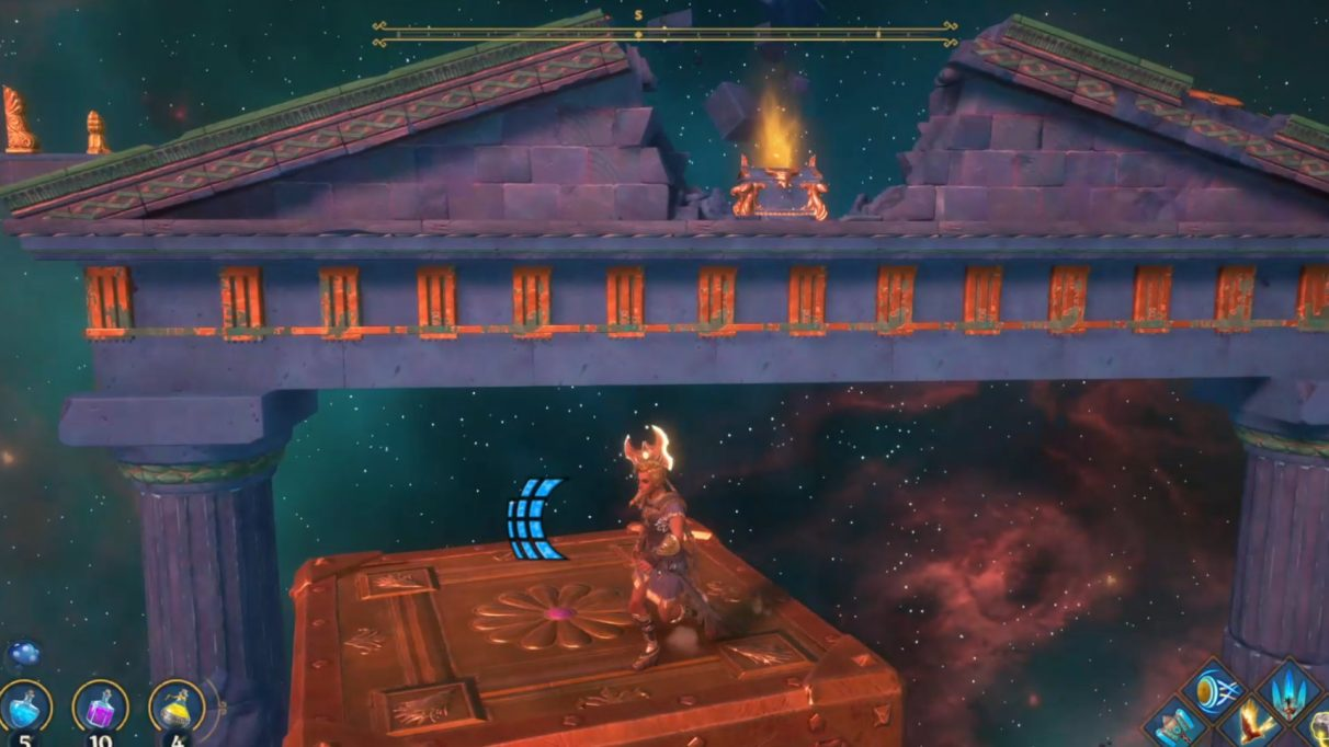 There is a hidden chest at the top of the giant archway. You'll need to stack all three cubes to reach it.