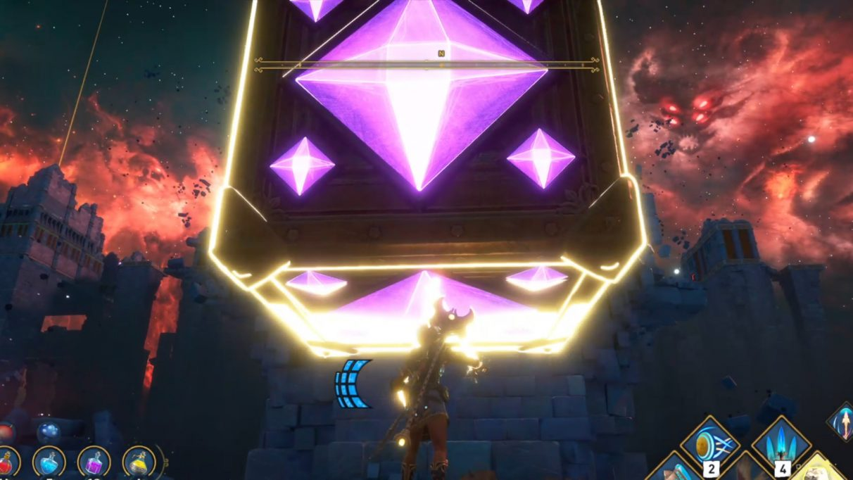 The central mechanic of the Vault of Ares is the manipulation of Orichalcum cubes to reach unreachable platforms.