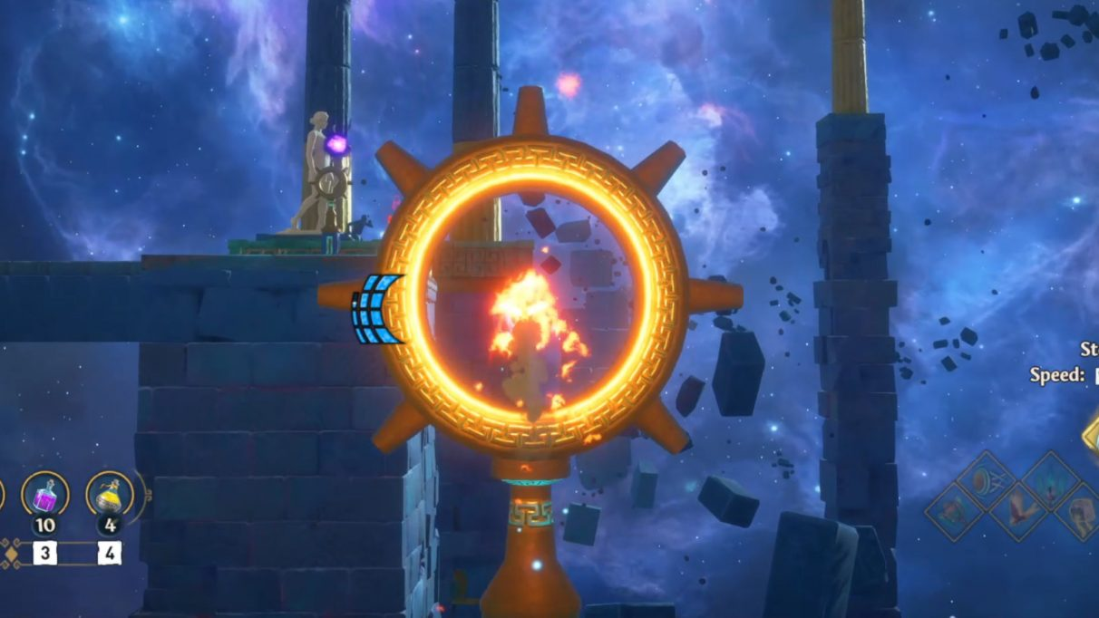 The west side of the Vault of Athena requires you to shoot flaming arrows through hoops to light the far torches.