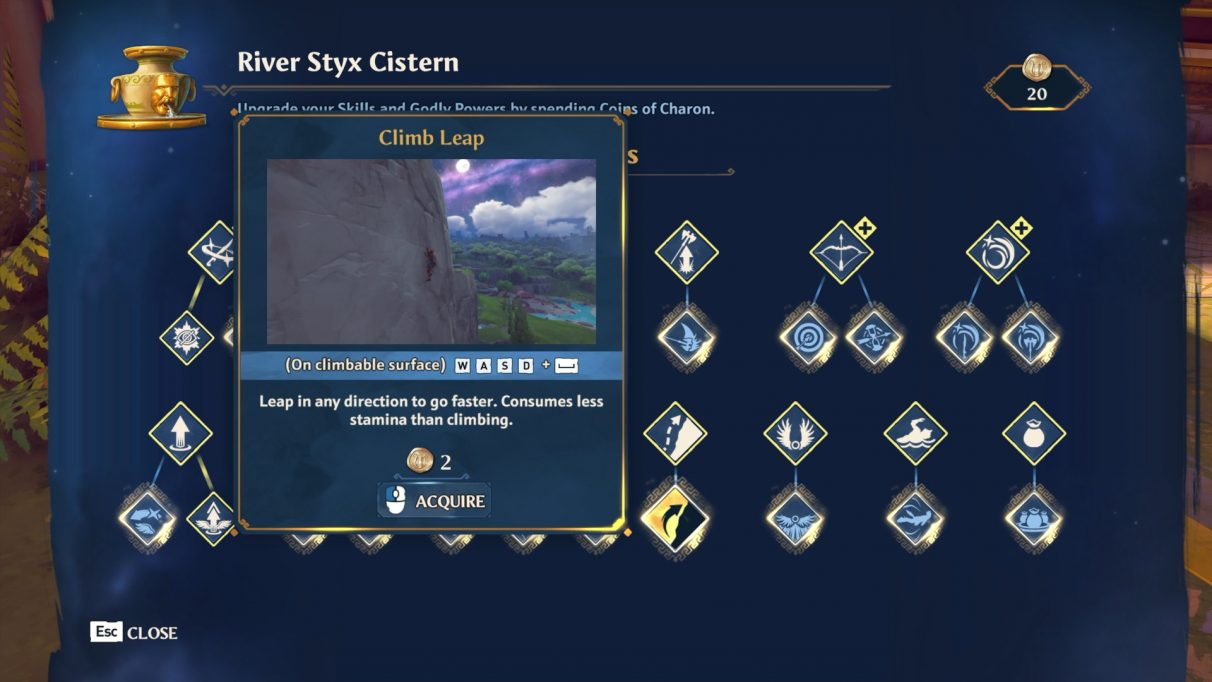 A screenshot of the skills menu in Immortals Fenyx Rising. The Climb Leap skill is highlighted.