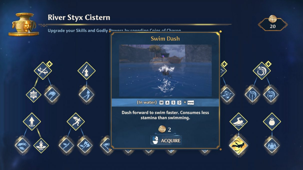 A screenshot of the skills screen in Immortals Fenyx Rising. The Swim Dash skill is highlighted.