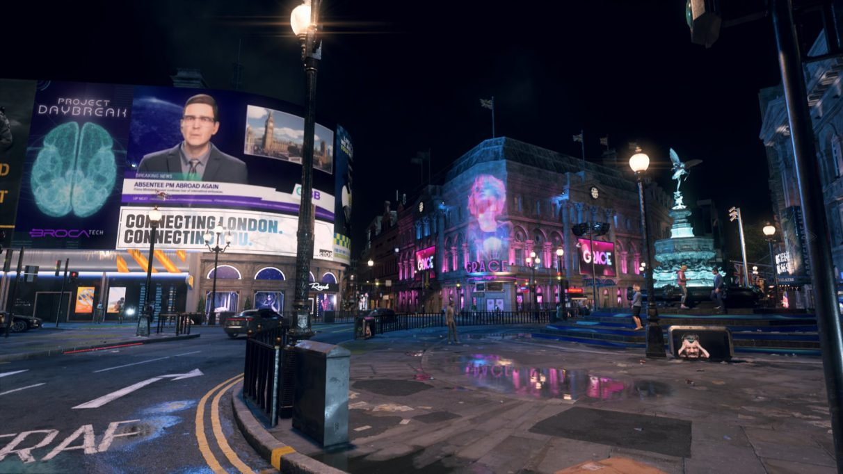 A screenshot of Piccadilly Circus from Watch Dogs Legion with ray tracing enabled.