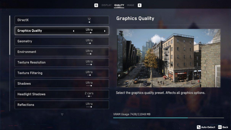 A screenshot of Watch Dogs Legion's graphics settings menu,