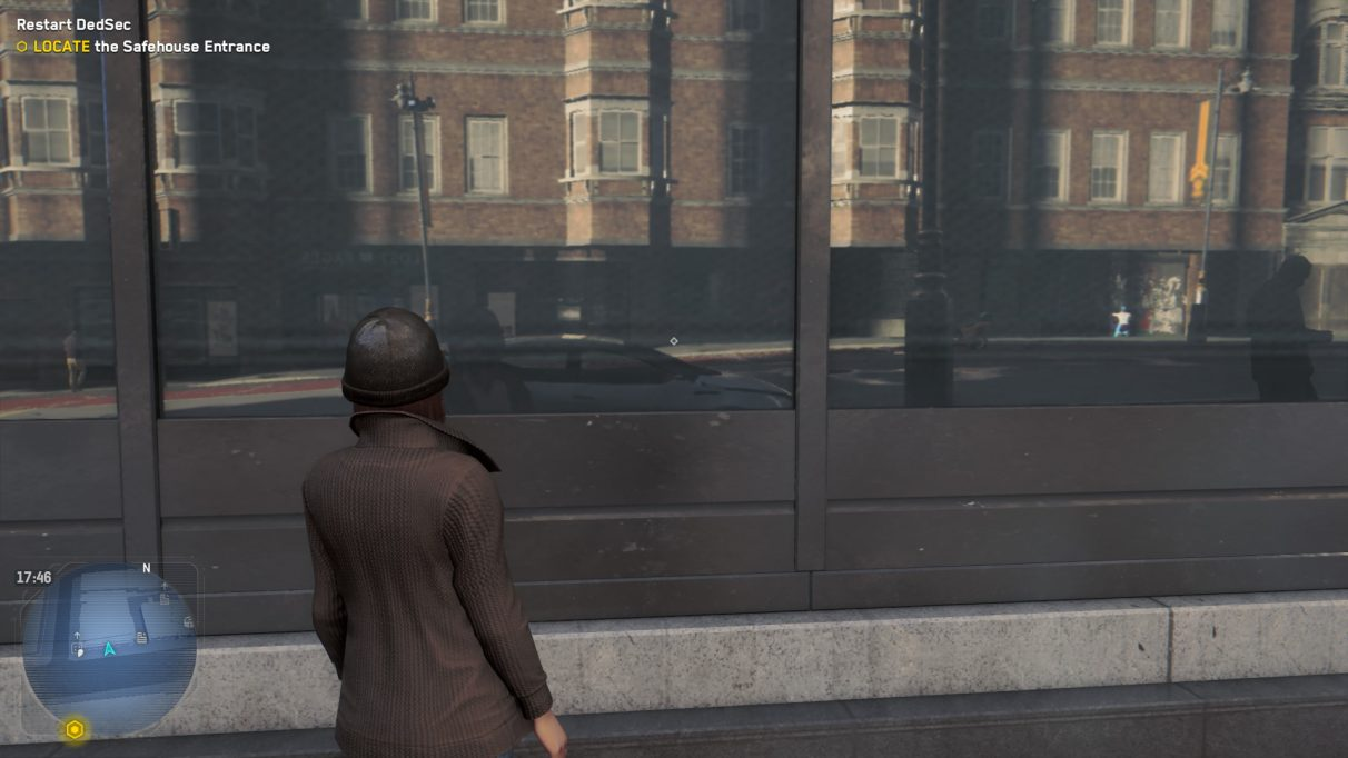 An image of a woman in Watch Dogs Legion staring at a reflective window to show what the game looks like with High ray tracing.