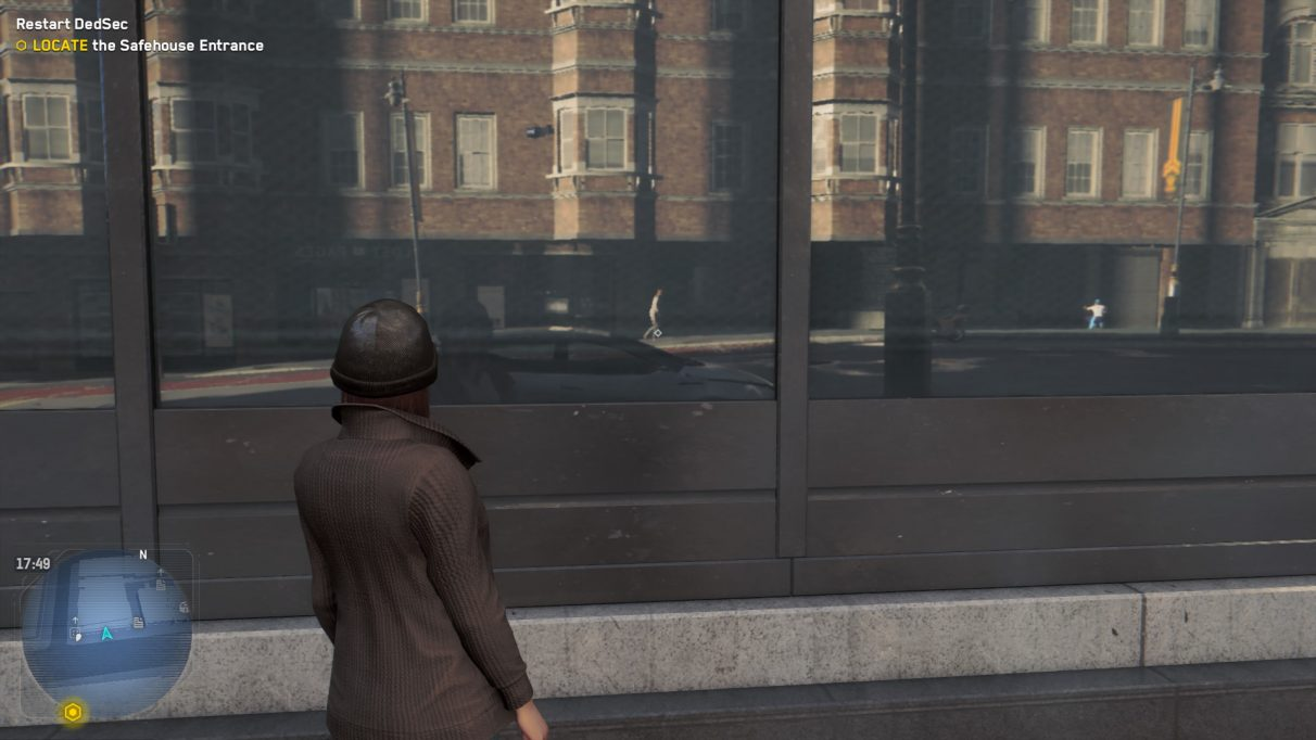An image of a woman in Watch Dogs Legion staring at a reflective window to show what the game looks like with Medium ray tracing.