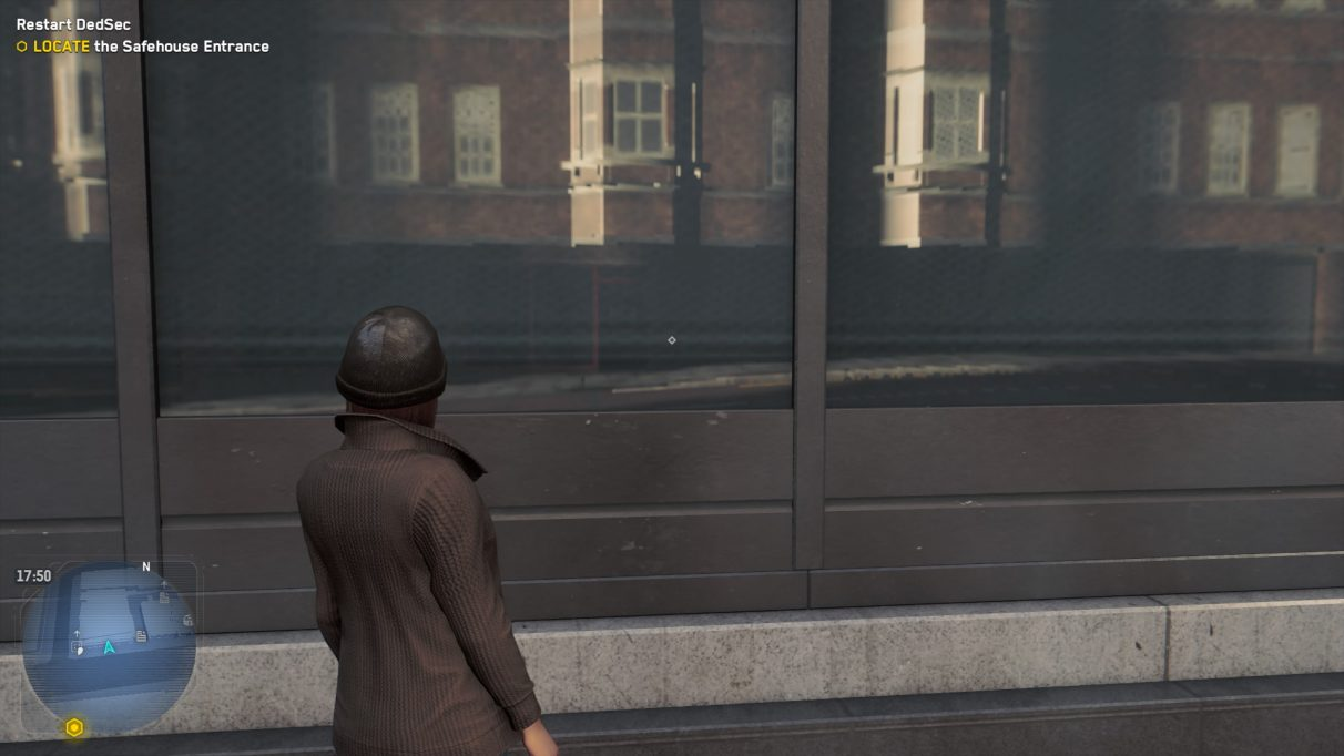 An image of a woman in Watch Dogs Legion staring at a reflective window to show what the game looks like without ray tracing.