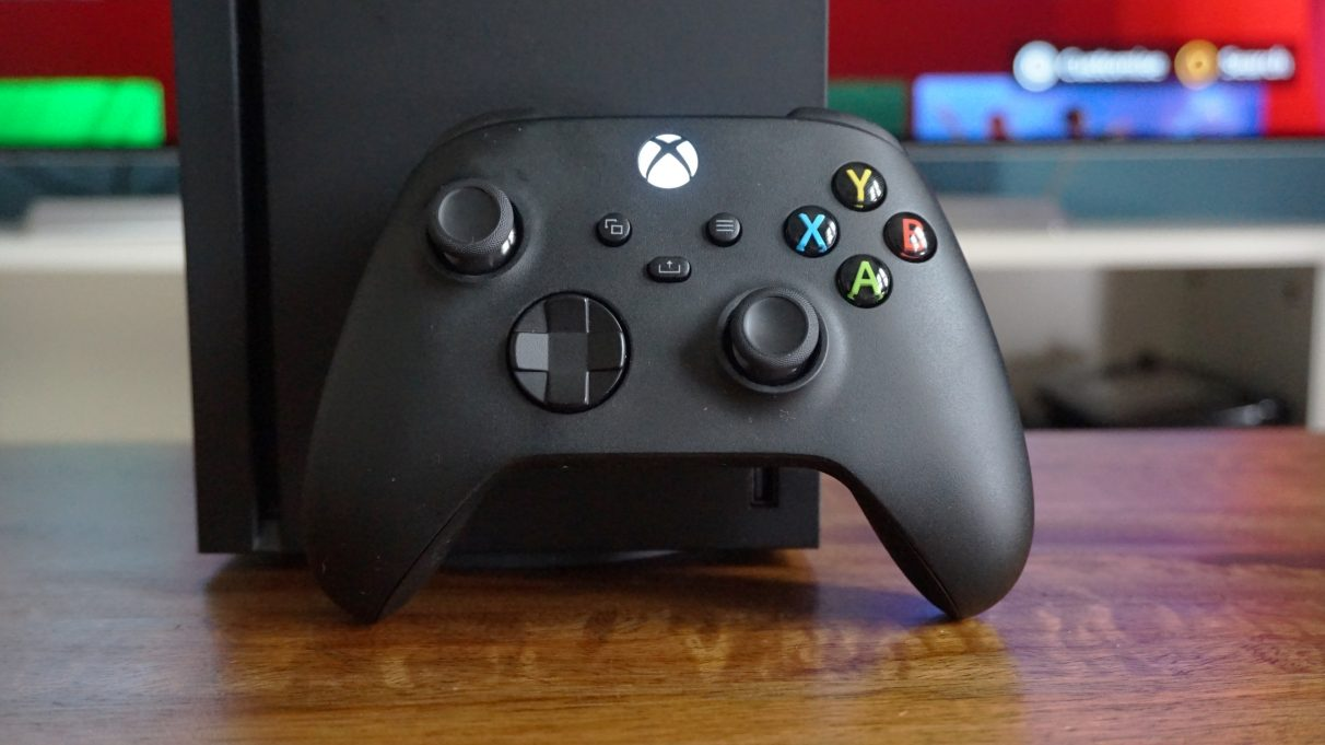 A close-up photo of the Xbox Series X controller.