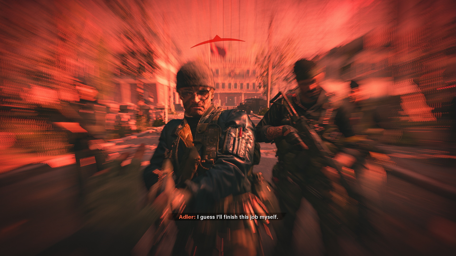 Adler shoots the player character in the face at the end of Cold War.