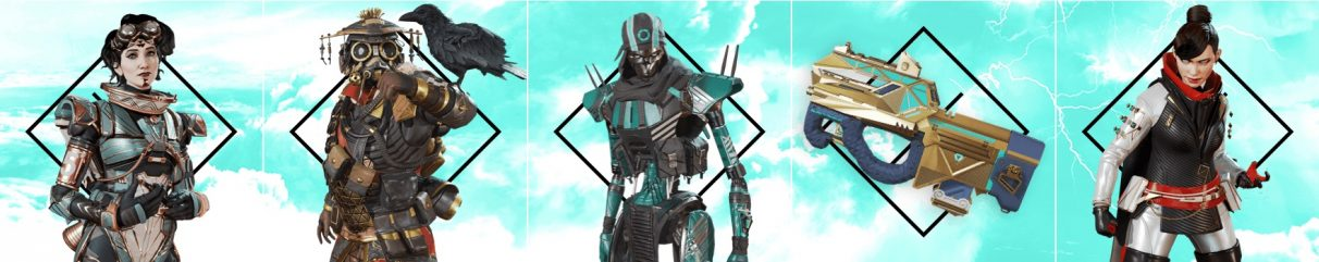 Images of the new cosmetic items in Apex Legends' battle pass.