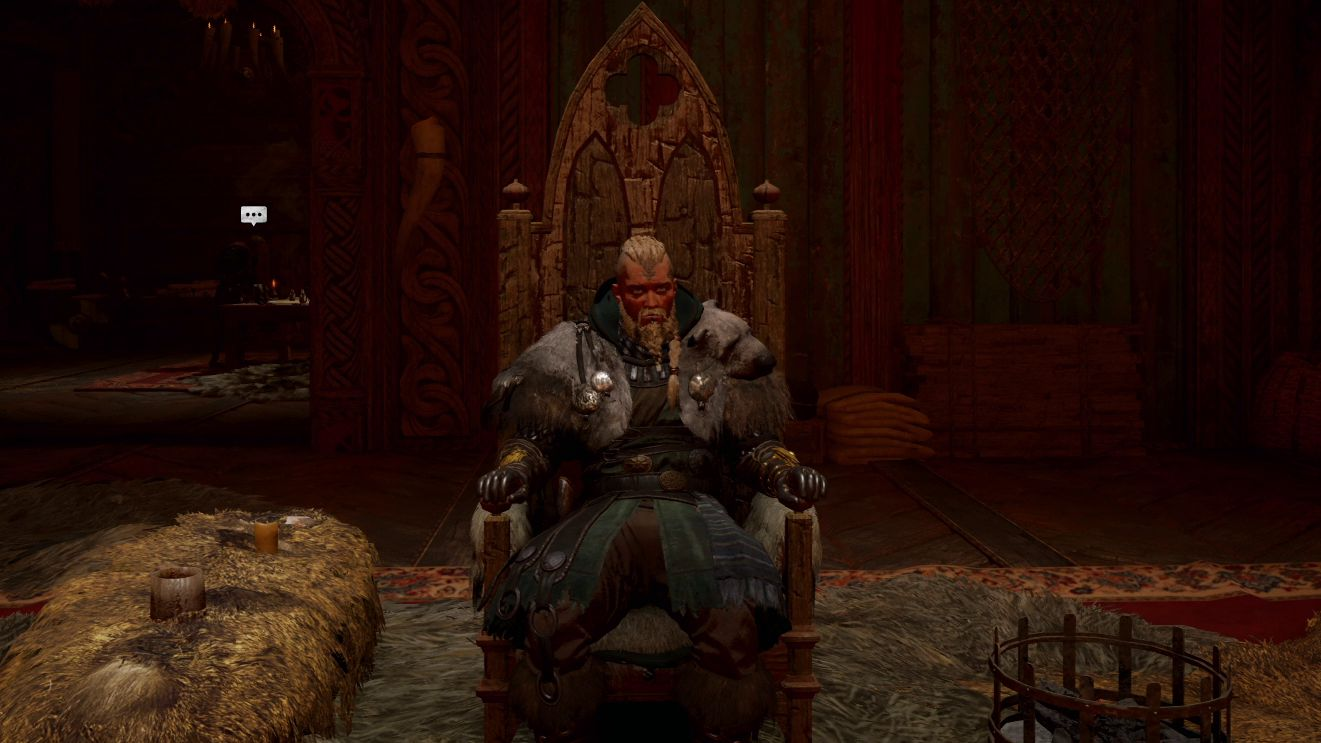 The male version of Eivor sits in the throne at the Ravensthorpe settlement