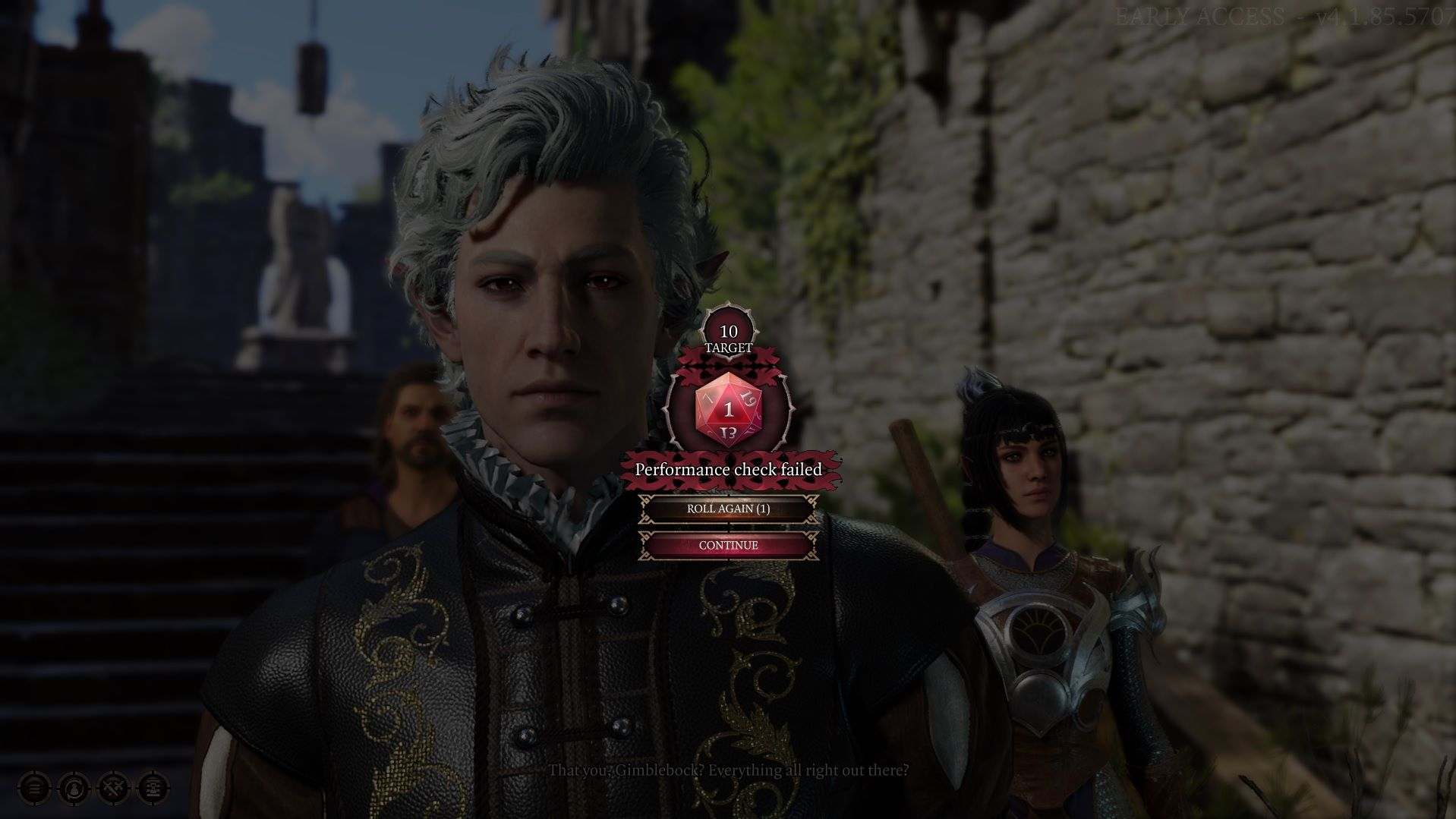 A screenshot showing Astarion, the white-haired vampire spawn character in Baldur's Gate III, critically failing at a performance roll. The dice roll is shown on screen.