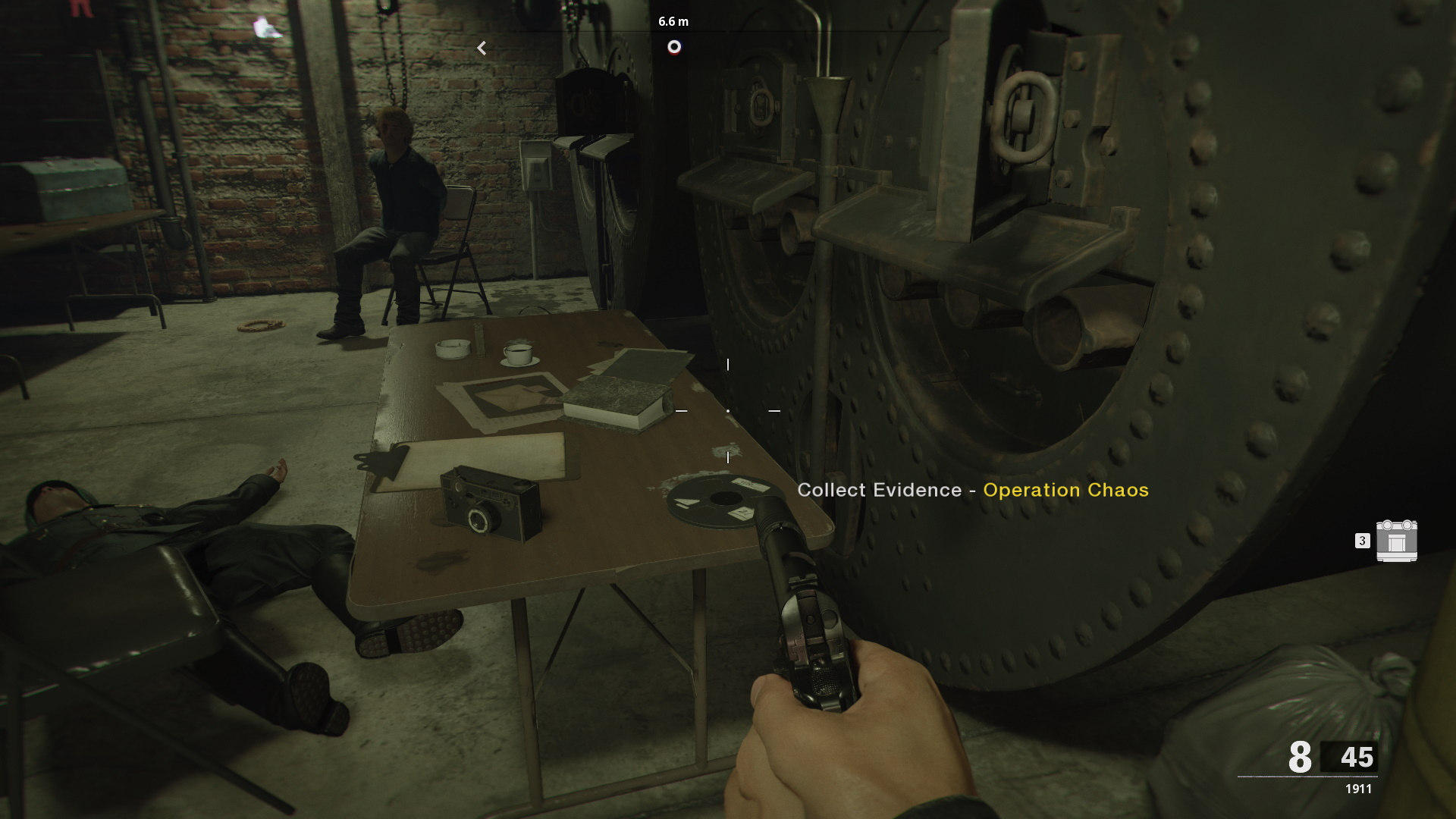 Brick in the Wall evidence location on table in bunker for Operation Chaos