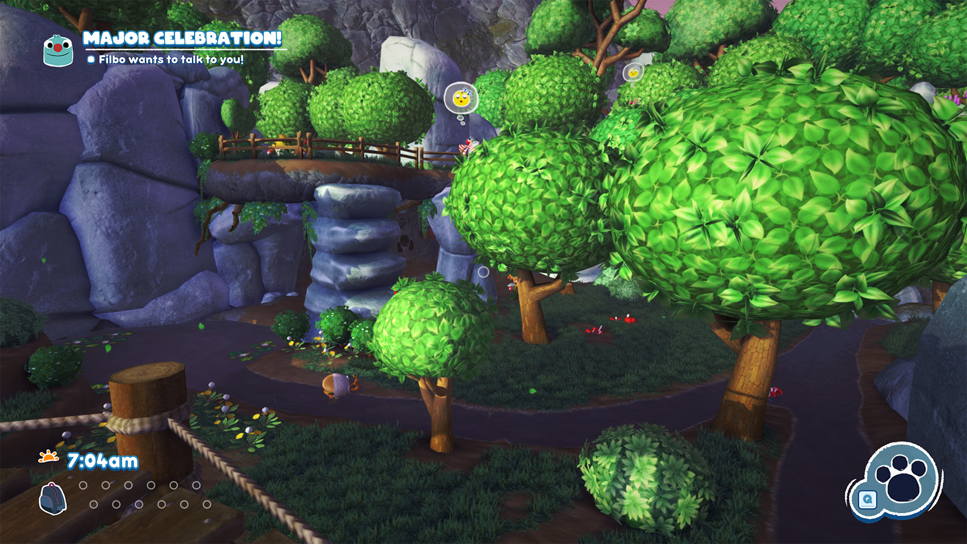 One of the self-contained puzzle areas in Bugsnax. There are several levels, with threes and platforms, and different bugsnax are visible sleeping or ambling around