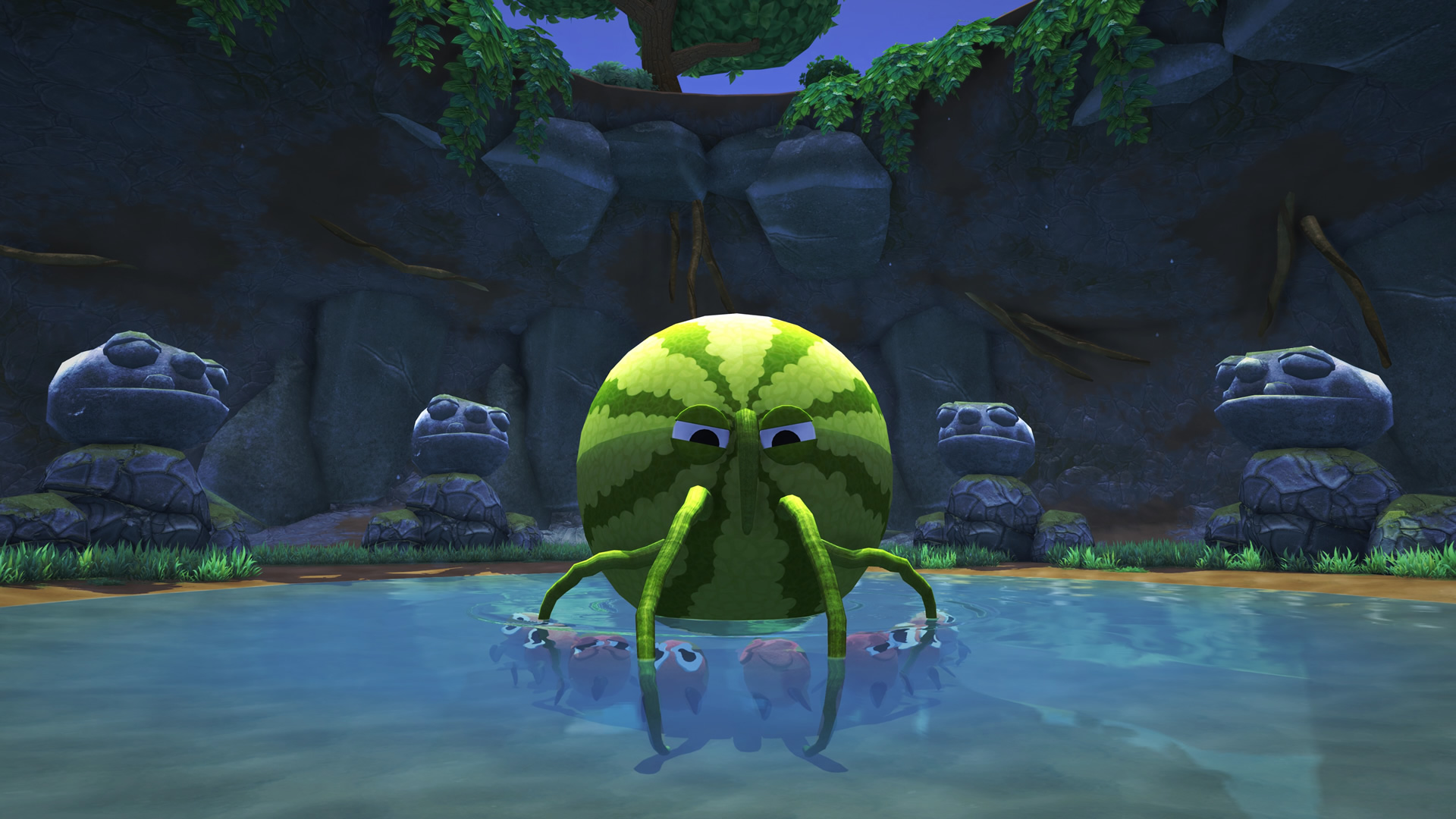 A screenshot of a bugsnax creature, a watermelon with whiskery appendages floating in a pond. It surely has an adorable pun name of some kind