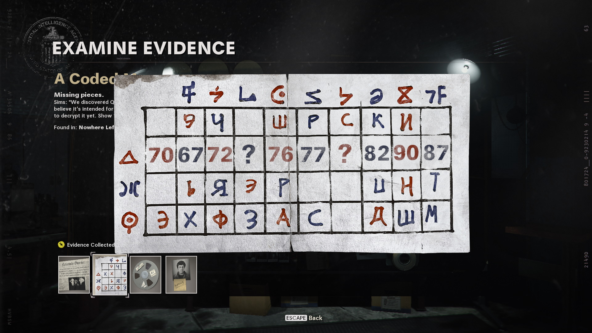 Coded message in operation chaos. Red and blue numbers appear for the player to decode.