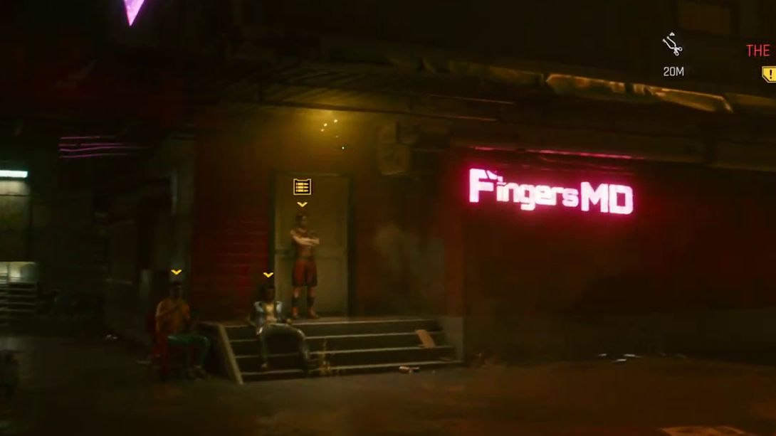 V approaches a building in a grimy back alley. Three men stand in front of the door. On the wall is a neon pink sign reading Fingers MD