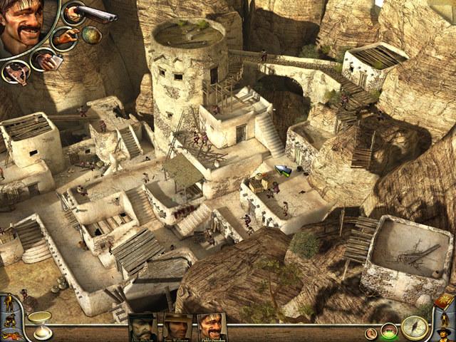 Desperados 2 screenshot showing a bandit fortress.
