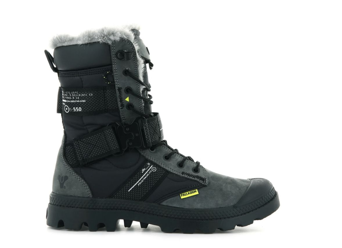 Palladium Boots' Europa Destiny 2 boots, kind of outdoorsy winter boots with in grey and black, with a buckle about where the ankle would be. They are grey and black and at least partially lined with white-grey fur. lots of