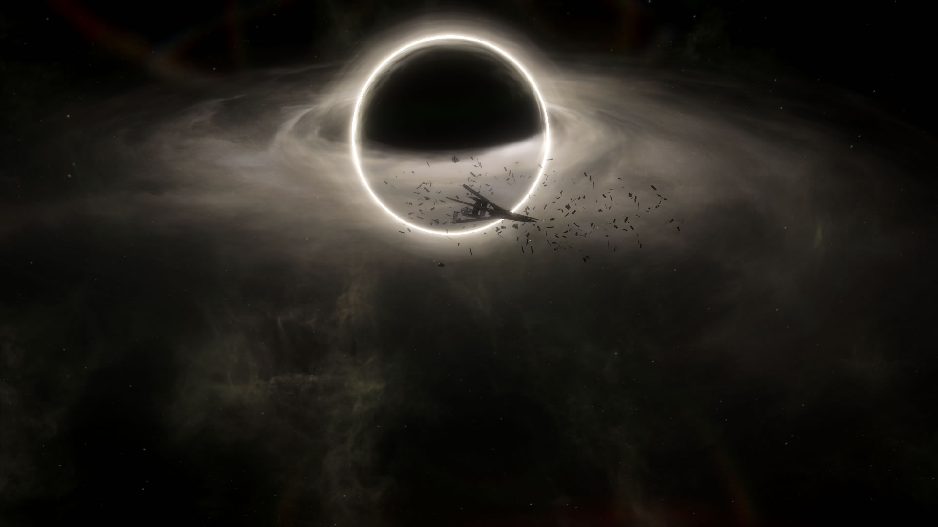 A Stellaris screenshot showing a broken ship in front of a black hole.