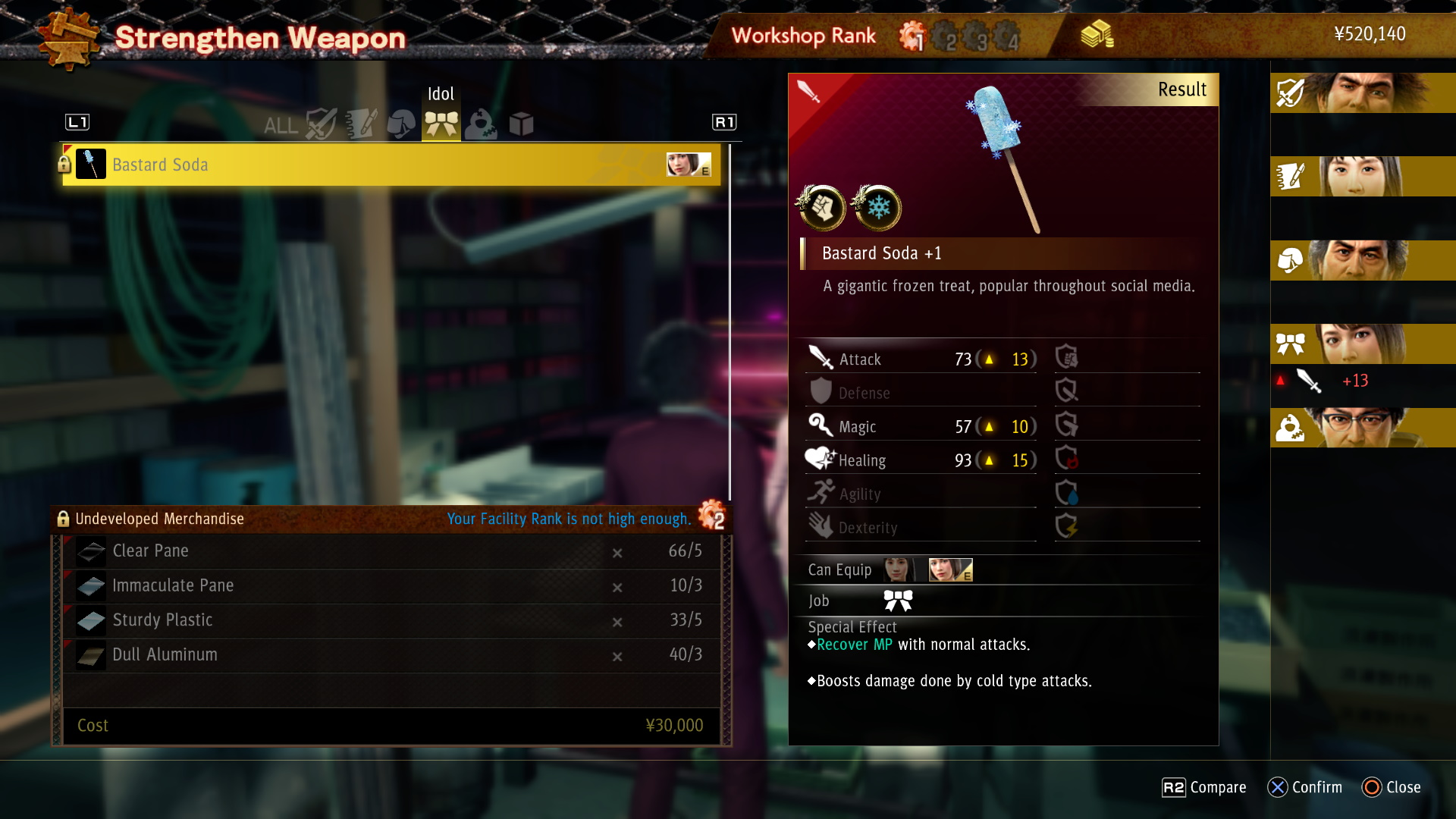 Here I can't upgrade Saeko's weapon because I haven't upgraded the workshop enough.