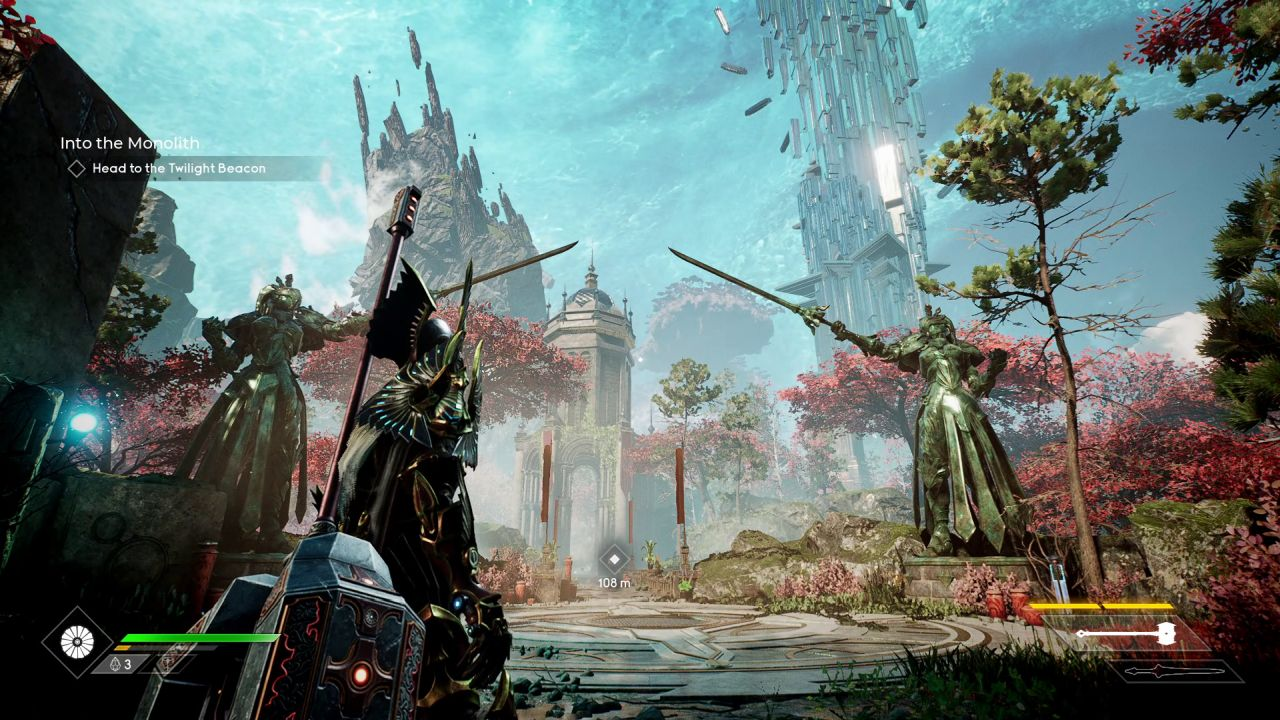 The player character, now in Valorplate that is supposed to be a phoenix, stands in a landscape of European-ish stone ruins and red-leaved trees. Two identical green copper statues stand pointing their swords to form a sort of arch. In the background, two rock formations send fragments floating into the sky, in defiance of all good physics. One appears to be crystalline in nature.
