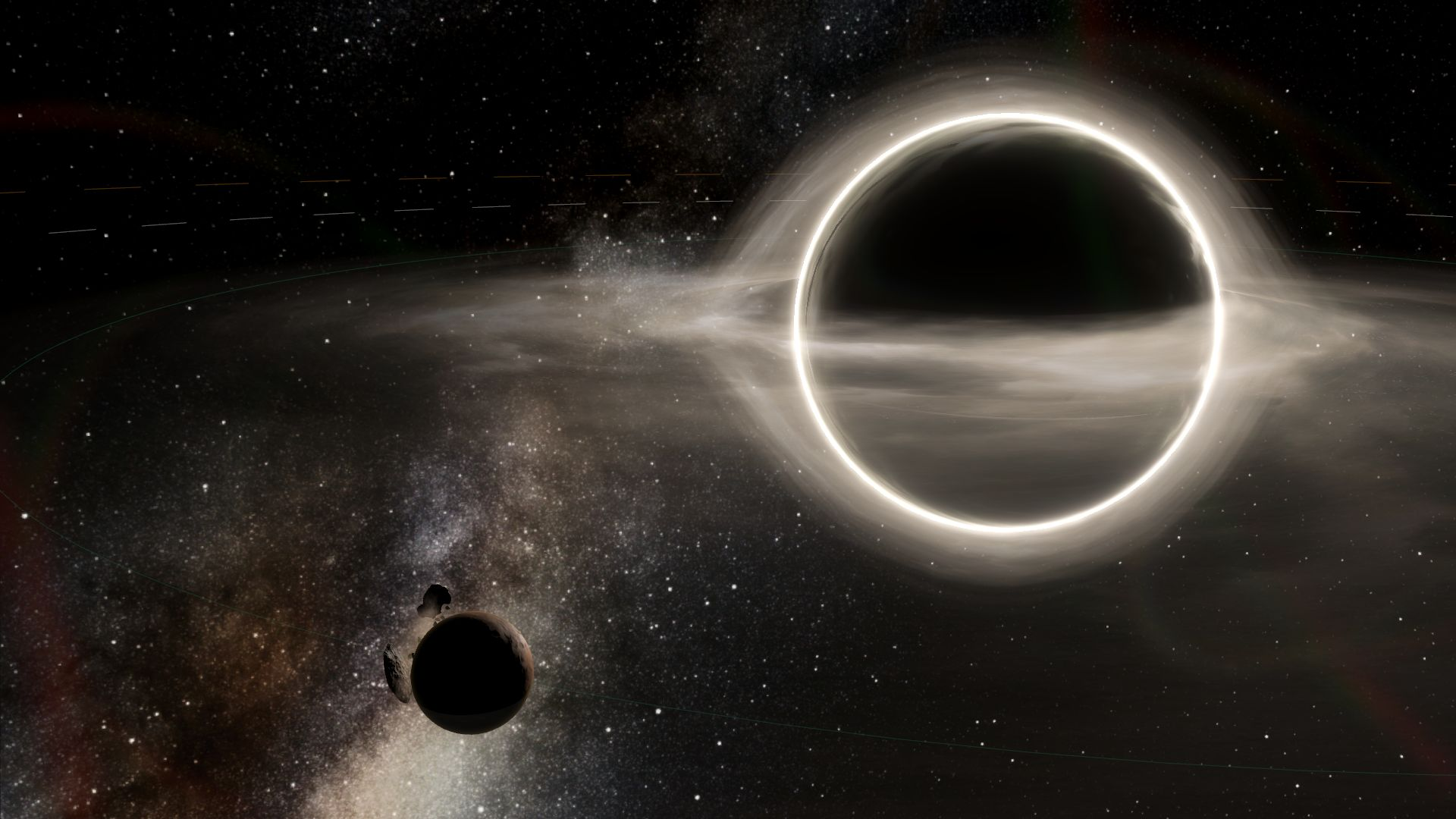 A Stellaris screenshot showing a small planet orbiting a black hole