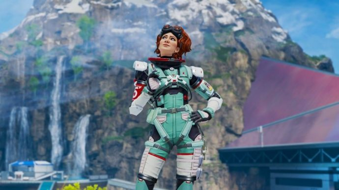 Apex Legends' new character Horizon, stood on the new map, Olympus.