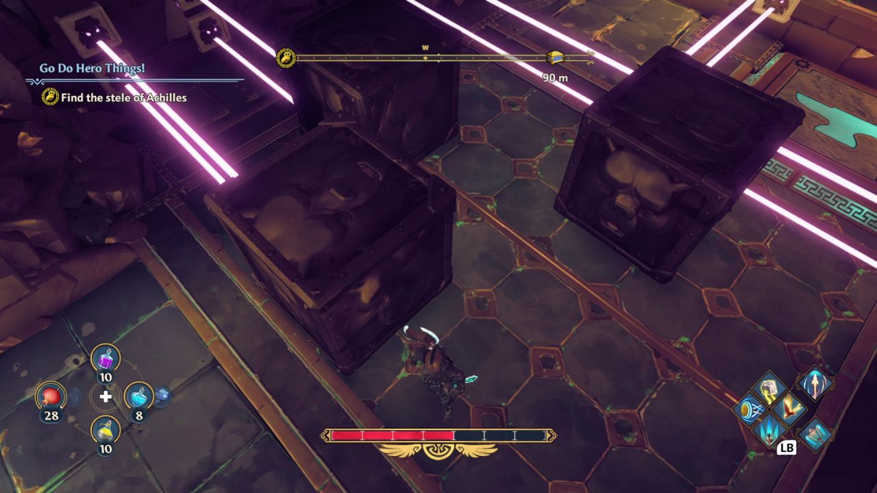 A screenshot showing me failing at a puzzle where I have to push large metal cubes to block the path of some pink lasers emitting from the walls in a cave