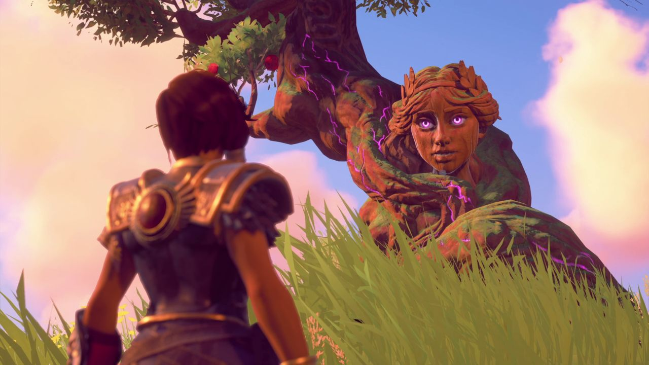 Fenyx stands talking to a tree that has the face of a young-ish woman sticking out of it (still made of wood, though). This is Aphrodite, trapped in tree form after Typhone stole her godly essence.