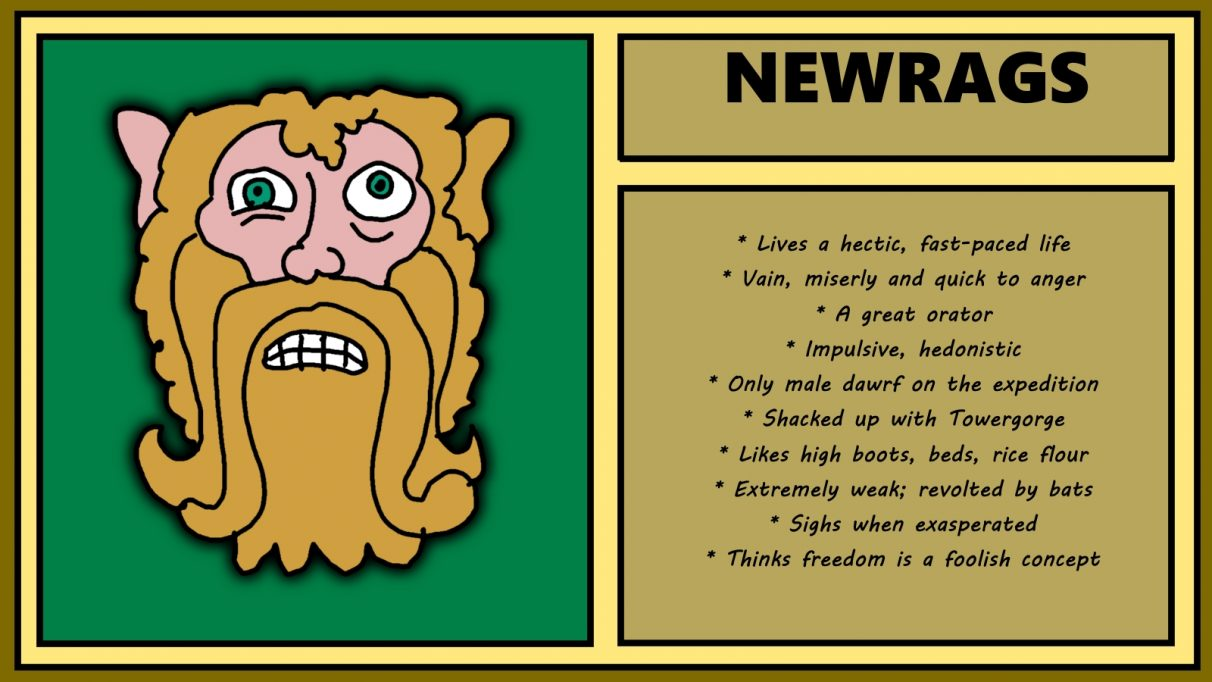 Biographical information for a stressed looking male dwarf called Newrags, with a very long beard. He looks like a swedish allotment manager whose mind is collapsing. He lives a hectic, fast-paced live, yet is vain and miserly, as well as being impulsive and hedonistic. He is the only male dwarf on the expedition, and is in a relationship with Towergorge. Tbh it sounds like they deserve one another.