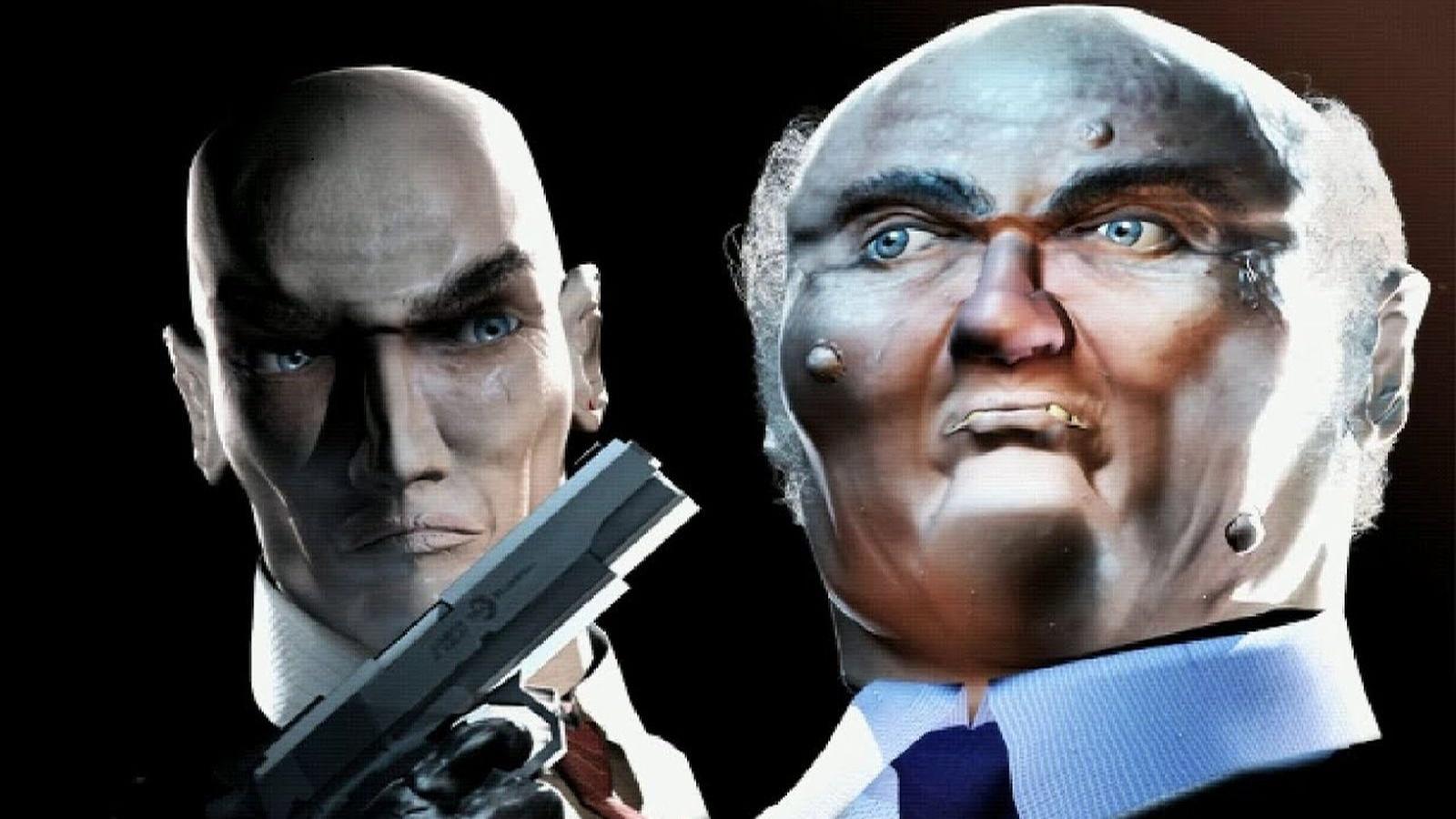 Una pantalla de carga de Hitman: Codename 47. Muestra al Agente 47 apuntando con un arma a un caballero mayor mal representado.