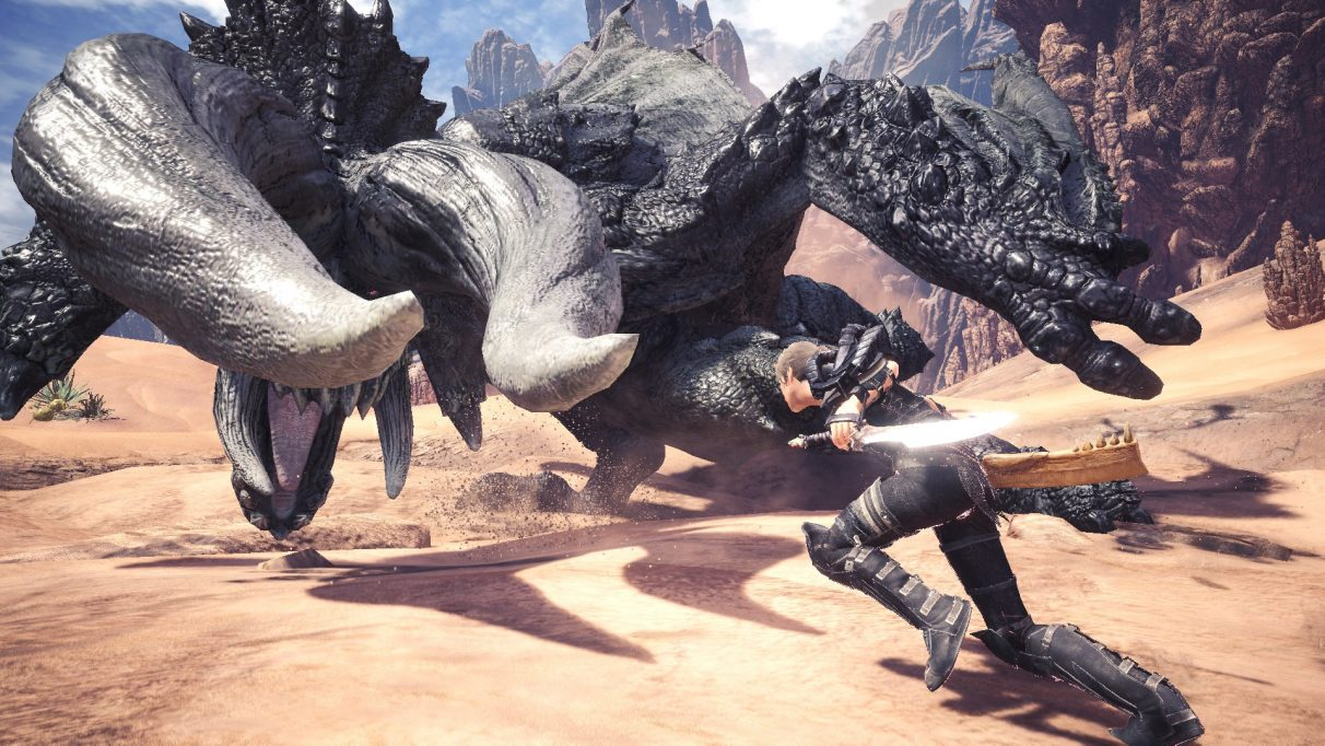 A Monster Hunter World: Iceborne screenshot showing Milla Jovovich's character fighting a monster in the movie crossover event.