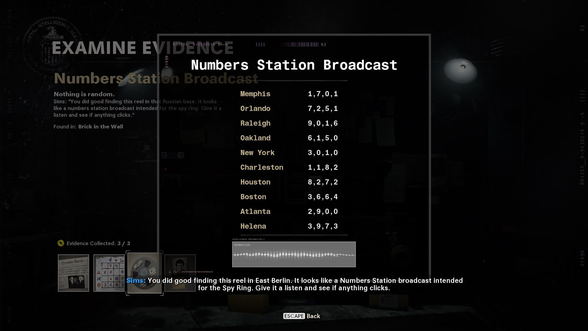 Numbers Station Broadcast in cold war's operation chaos. Numbers corresponding to city names are shown, four for each city.