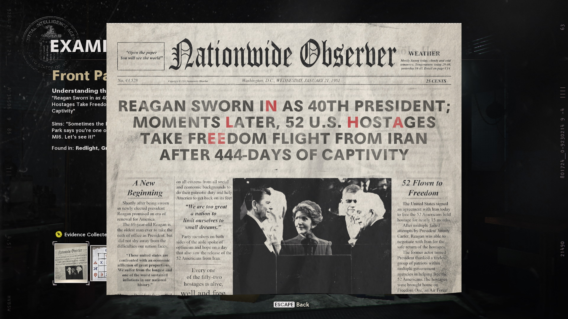 The headling of this newspaper reads: 'Reagan sworn in as 40th president; moments later, 52 US hostages take freedom flight from iran after 444-days of captivity'. Some letters are highlighted red.