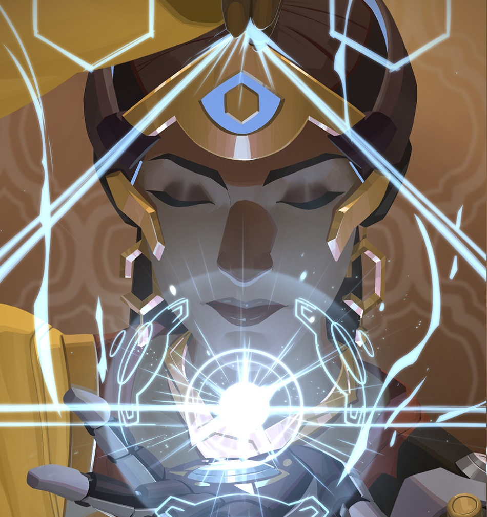 Symmetra playing with light triangles from the cover of the new short, Stone By Stone.