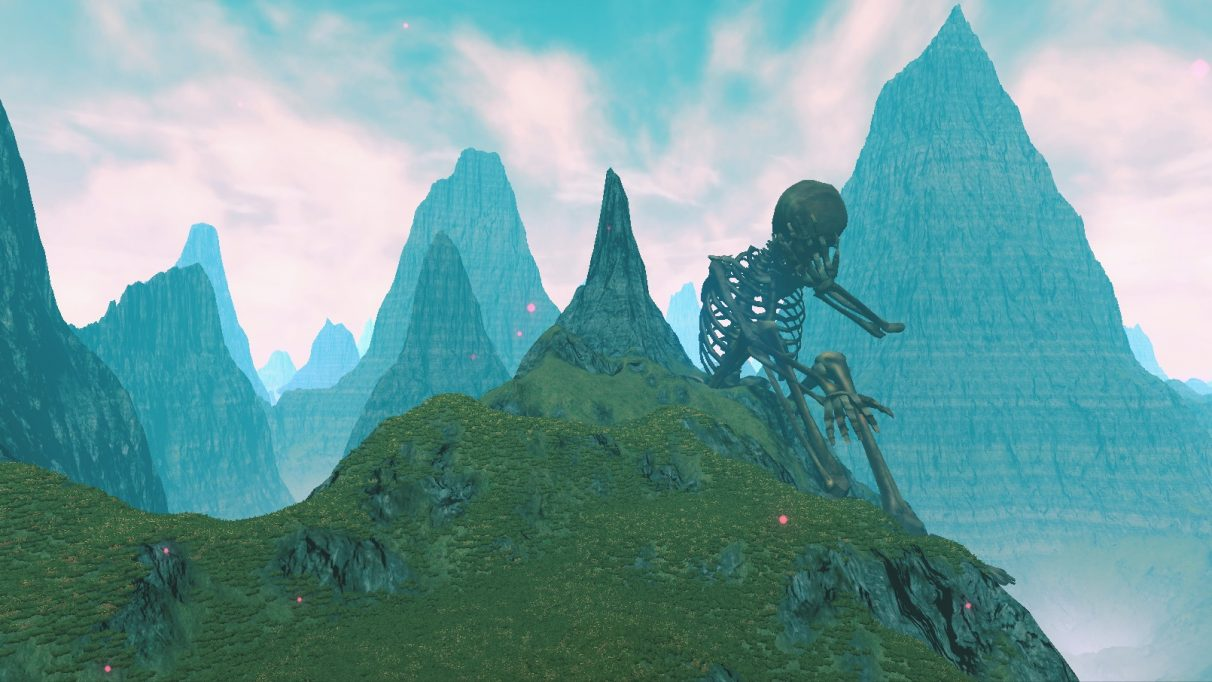 A giant skeleton sat facepalming on a mountainside in a Peak Bleak Blues screenshot.