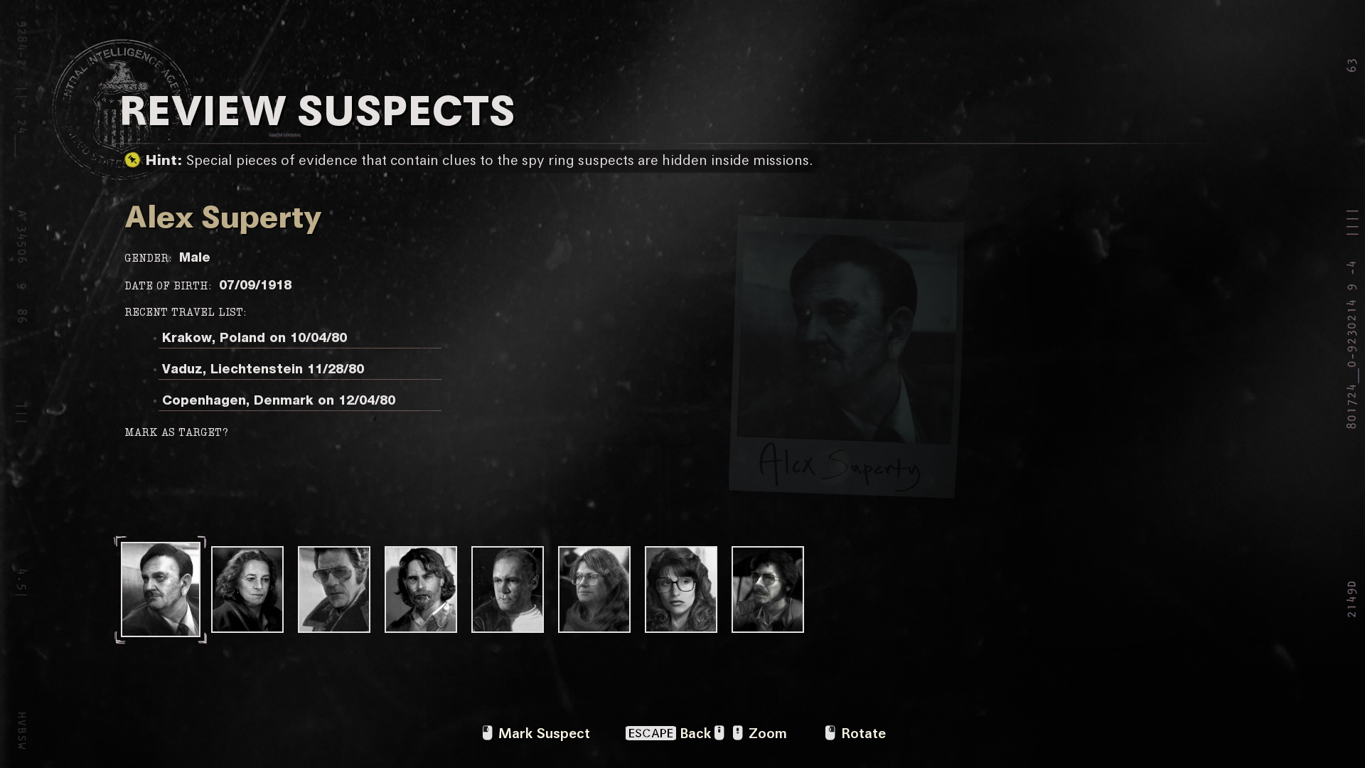 The 'review suspects' menu on Operation Red Circus, showing the suspects and their locations.